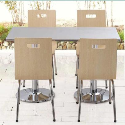 简约不锈钢员工食堂餐桌餐椅_学校企业食堂餐桌椅组合-厂家直销