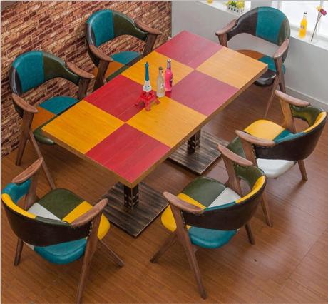 茶餐厅桌椅_复古风格奶茶店餐饮桌CCZ-006-厂家定做直销