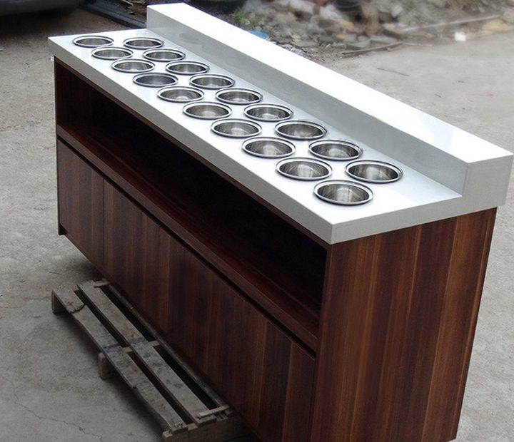 自助餐厅实木酱料台-餐厅实木酱料台定做厂家