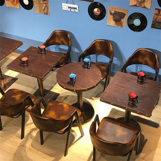 新款实木复古咖啡厅桌椅-咖啡厅餐桌椅定制厂家