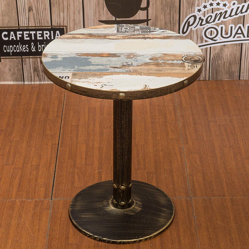 美式复古铁艺圆餐桌_茶餐厅实木方桌 厂家定做直销