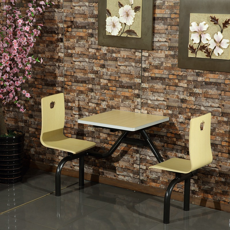 不锈钢连体2人食堂快餐桌椅_学校员工2人组合食堂快餐桌
