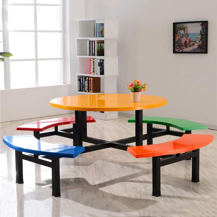 玻璃钢6人8人连体圆桌食堂员工饭堂餐桌椅-厂家直销