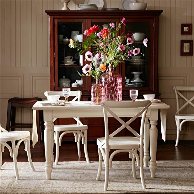 国产实木(白杨木)餐桌_白色长方形西餐厅餐桌