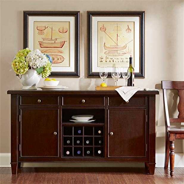 美国赤杨木餐边柜-美式餐厅备餐柜 实木餐具柜BCG004
