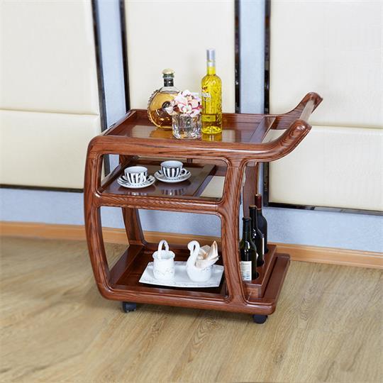 【海德利家具】现代中式实木家具木质菜架餐车