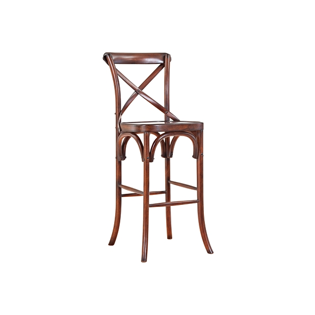 东南亚橡胶木咖啡馆吧椅_咖啡厅实木吧椅BY-002