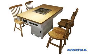 实木下沉式小火锅桌