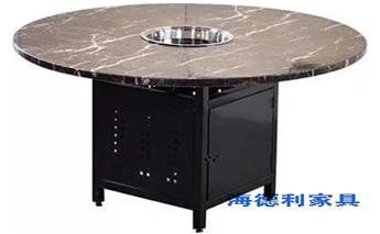 大理石下沉式火锅桌