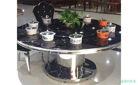 12人圆形电磁炉火锅桌