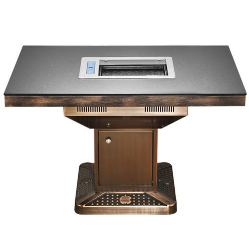 防滑玻璃火锅桌_电镀铁艺桌架无烟烧烤桌