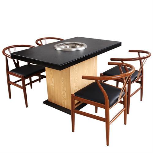 黑色防滑钢化玻璃桌面实木桌脚无烟火锅桌
