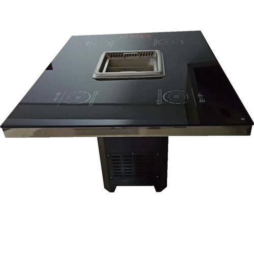 4人台钢化玻璃无烟火锅桌隐形电磁炉火锅桌子