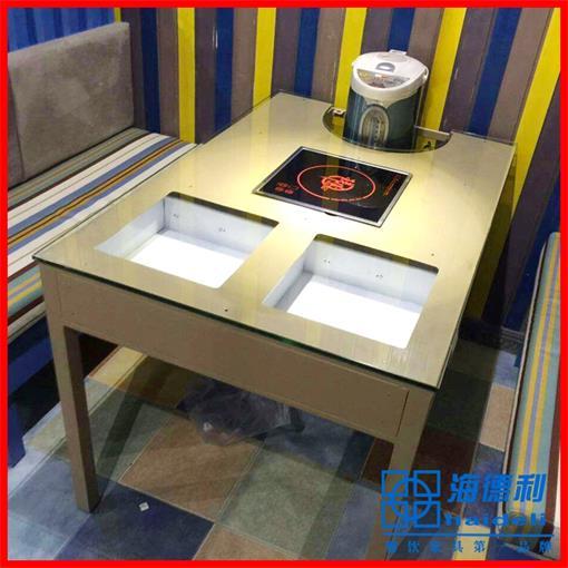 钢化玻璃白色火锅桌 四人位长方形玻璃火锅桌 厂家定做直销