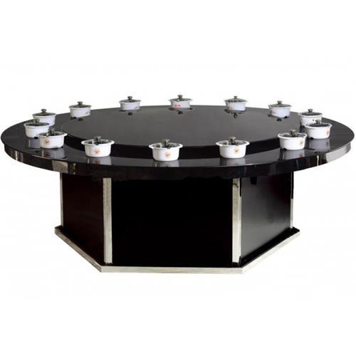 圆形钢化玻璃一人一位餐厅火锅桌子