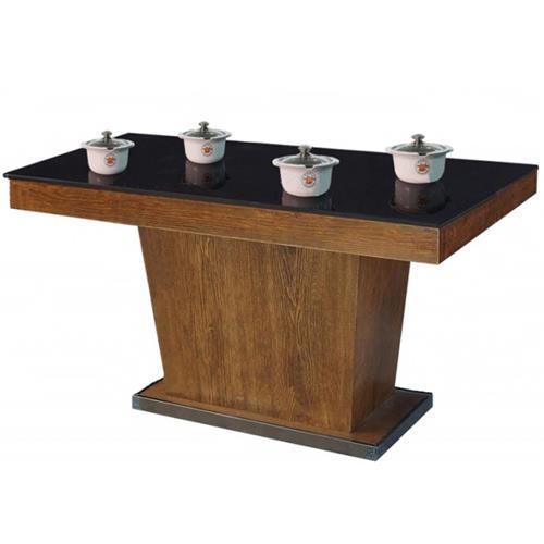 钢化玻璃隐藏式电磁炉四人位小火锅桌