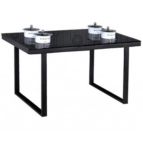 现代简约铁艺桌脚钢化玻璃台面火锅桌