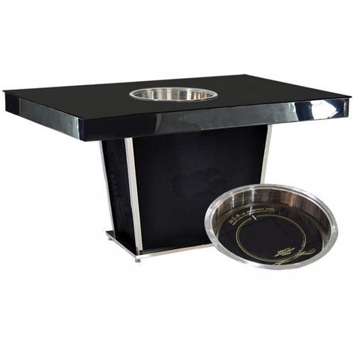 钢化玻璃下沉式火锅桌