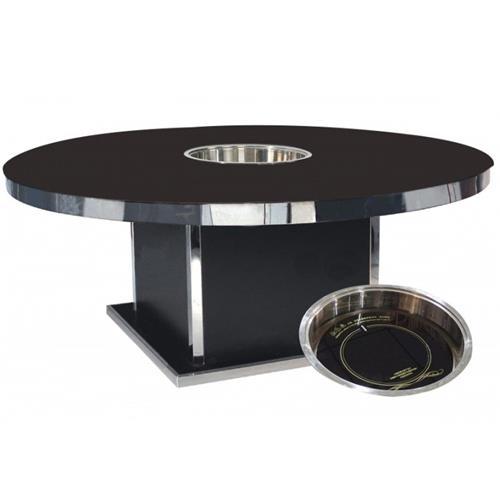 新款钢化玻璃电磁炉圆形火锅桌