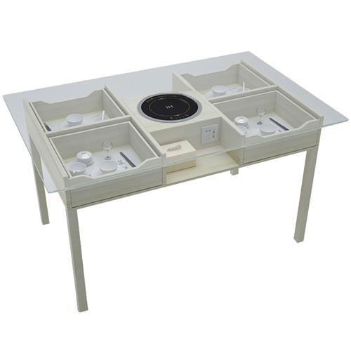 钢化玻璃可视化带抽屉电磁炉火锅桌