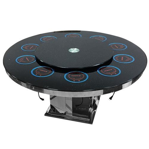 钢化玻璃火锅圆桌1.2米转盘电磁炉一体火锅桌子