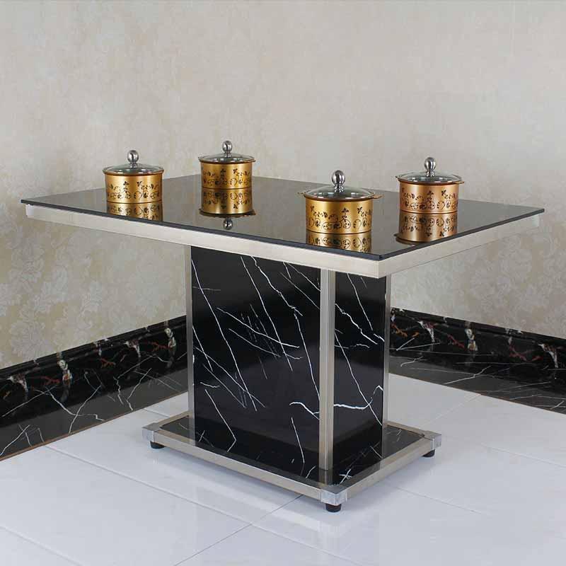 钢化玻璃面火锅桌 隐形韩式电磁炉火锅餐桌椅组合