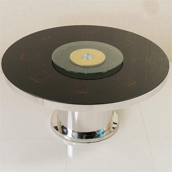 黑色钢化玻璃隐藏式圆形火锅桌