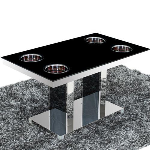 钢化玻璃不锈钢隐藏式单锅小火锅桌