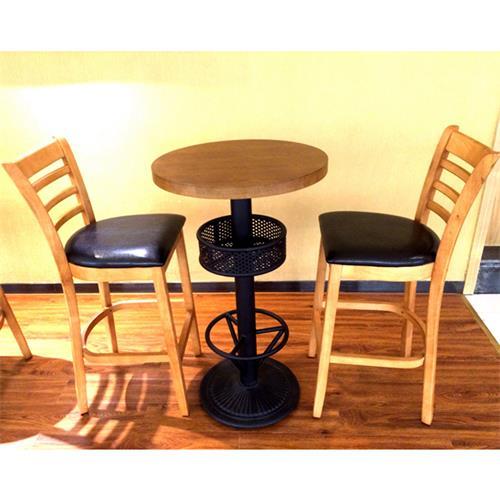 咖啡店圆形实木吧台桌高吧椅
