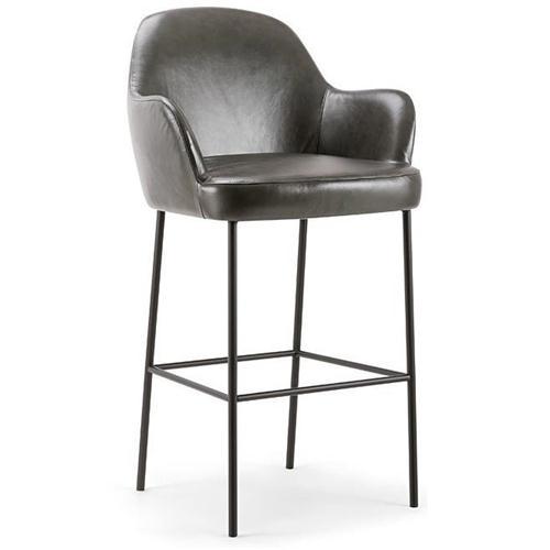 现代北欧咖啡馆真皮高脚椅家具