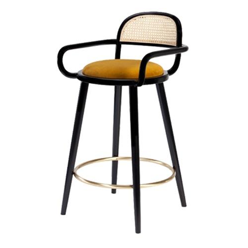现代时尚咖啡厅不锈钢藤编高脚椅家具
