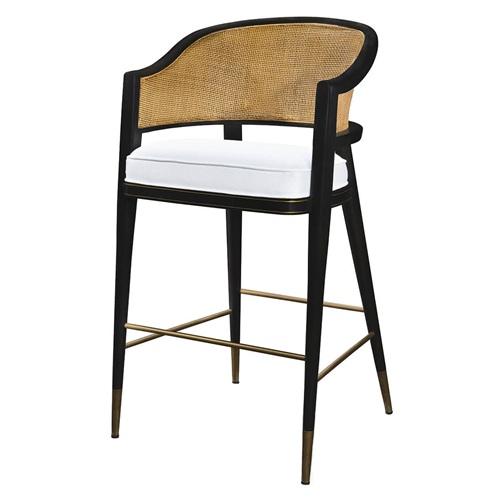 中式实木藤编咖啡馆休闲吧台高脚椅