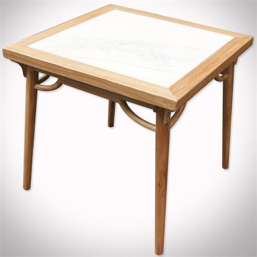 茶楼会所新中式实木包边大理石餐桌