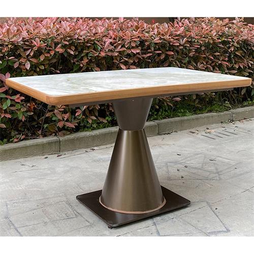 现代中式不锈钢桌脚实木封边大理石休闲桌-深圳南山茶餐厅桌椅