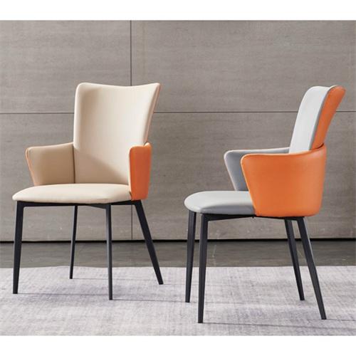 广式茶餐厅时尚皮革铁艺高靠背椅