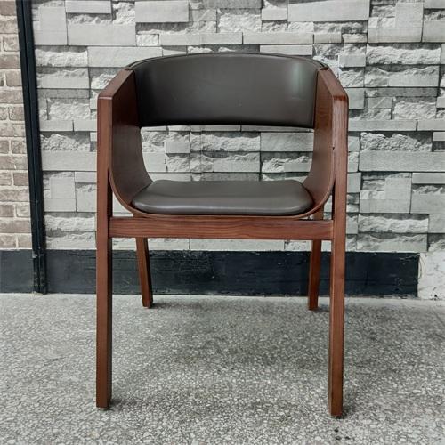 茶楼创意实木软包镂空靠背椅子