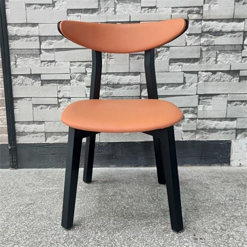 茶餐厅极简中式实木pu皮椅子