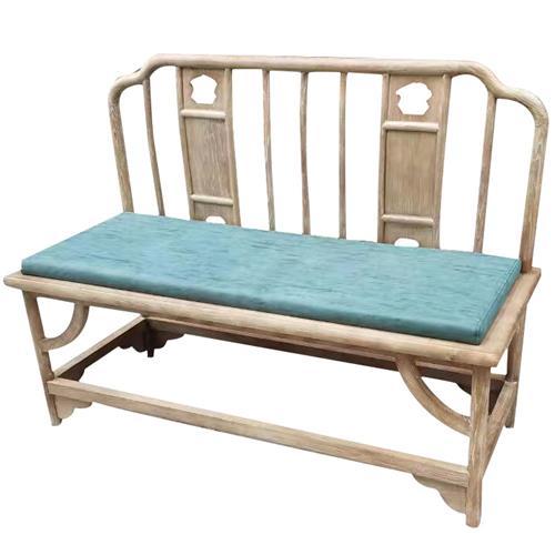 茶楼酒店榆木皮艺软包双人椅休息椅