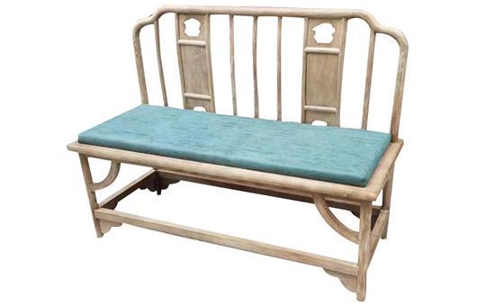 茶楼酒店榆木皮艺软包双人椅休息椅侧面展示