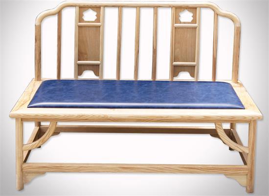 茶楼酒店榆木皮艺软包双人椅休息椅正面展示