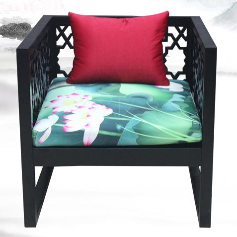 2017最新款 新中式茶餐厅餐椅_复古布艺实木沙发椅子