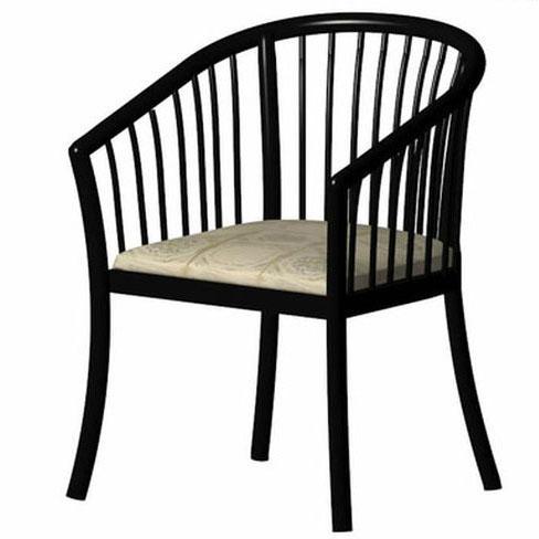 新中式黑色钢琴漆实茶餐厅实木餐椅