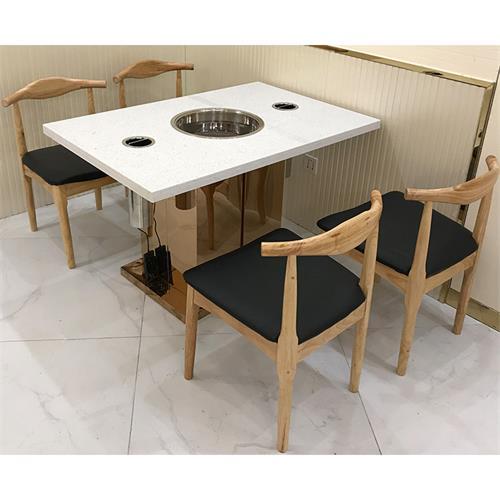 不锈钢支架大理石台面嵌入式电磁炉火锅桌