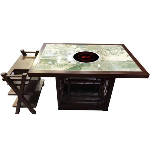 实木封边大理石台面新中式火锅中餐桌子