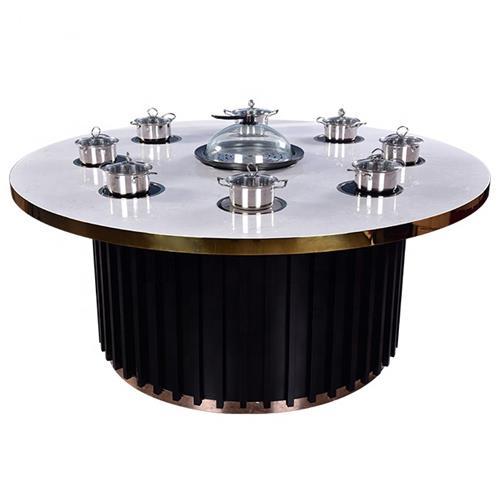 不锈钢封边大理石台面8人位圆形电磁炉火锅桌