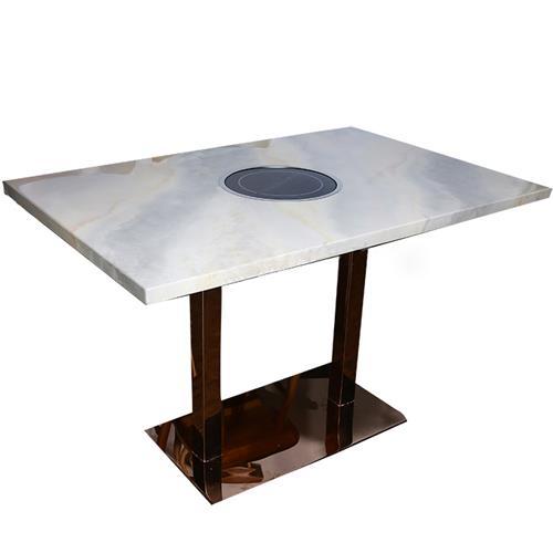 不锈钢桌脚轻奢大理石台面电磁炉火锅桌子
