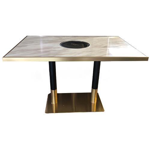 后现代轻奢不锈钢大理石火锅桌