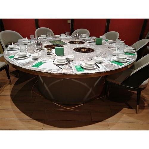 轻奢不锈钢大理石台面带火锅转盘的餐桌_12人的新式火锅大圆桌