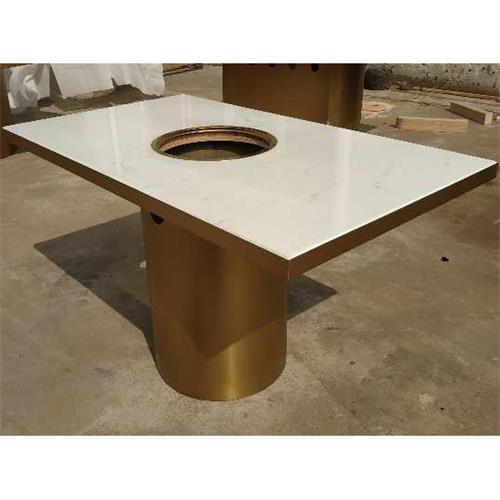 不锈钢轻奢大理石八人电磁炉火锅桌