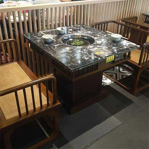 海鲜自助火锅4人位时尚大理石时尚火锅餐桌